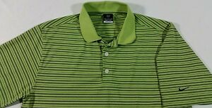 Nike Golf Nike Fit Dry SS Neon Green Blue Striped Performance Polo Men's Medium
