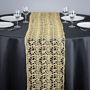 Gold Chemical Lace Sequin Table Runner 14 x 108 inch Made in USA Wedding Party