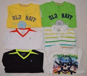 Lot 6 Boys OLD NAVY SHORT SLEEVE TEE SHIRT TOP LARGE 10 12 ACTIVE DRY FIT POLO