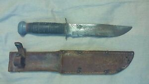 Unmarked Vintage Carbon Steel Bowie Knife With Sheath