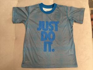 Nike Dry Fit Short Sleeve Athletic T-Shirt Sz 4T Blue Just Do It