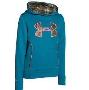 Under Armour Girls' UA Caliber Hoodie Small  8 Big Kids TEAL BLAST