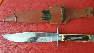 Vintage Solingen Bowie Knife Fighting Dagger and Sheath Made in Germany