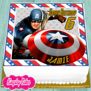 CAPTAIN AMERICA PERSONALISED BIRTHDAY 7.5 INCH PRECUT EDIBLE CAKE TOPPER J519K