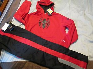 NEW Boys UNDER ARMOUR 2Pc Outfit SPIDERMAN Hoodie+Pants COLDGEAR YLG FREE SHIP!