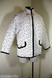 VERSUS VERSACE Filled Lining Black White Quilted Thick Jacket Coat 38 5 6 7
