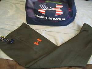 NEW Mens UNDER ARMOUR Coldgear Fleece Lined Sweat Pants Olive Grn SM FREE SHIP!