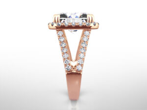 14K ROSE GOLD RED DIAMOND HALO RING WOMENS 5.5 CT SPLIT SHANK SIZE 4.5 - 9