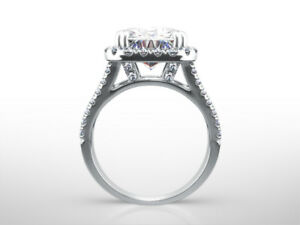 DIAMOND HALO RING 18K WHITE GOLD SIDE STONES EARTH MINED VVS1 D 5.25 CARATS