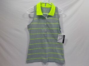 Oakley Pin High Polo shirt Gray with Neon stripe Ladies Med sleeveless Racerback