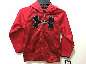 Under Armour Boys Camo Red Size 5 LS Full Zip Hoodie SweatshirtJacket $43 NWT