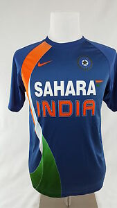 Nike Fit Dry Sahara India Jersey Cricket Athletic Sport Shirt Size M Blue