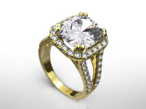 WOMENS DIAMOND RING HALO 5.5 CT ESTATE 14 KT YELLOW GOLD VVS1 D SIZE 7 8 9