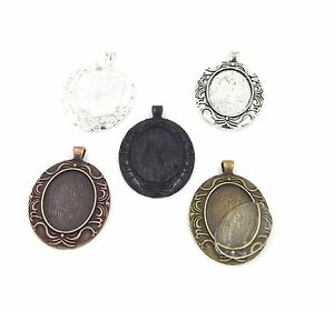 22X30mm beard oval pendant trays with glass multicolored