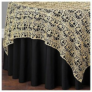 Gold Chemical Lace Sequin Table Overlay 72 x 72 inch Made in USA Wedding Party