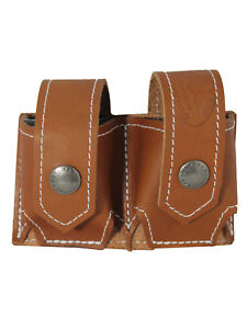 New Barsony Saddle Tan Leather Revolver Double Speed Loader Pouch .22 .38 .357