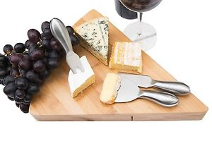 Cheese Board amp; Cutlery Set with Slide Out Drawer Natural Bamboo