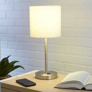 Bedroom Home Decor Desk White Stick Lamp With Built In USB Charging Port Table