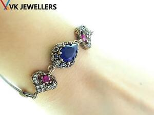LADIES 925 STERLING SILVER TURKISH HANDMADE JEWELRY SAPPHIRE BRACELET A29