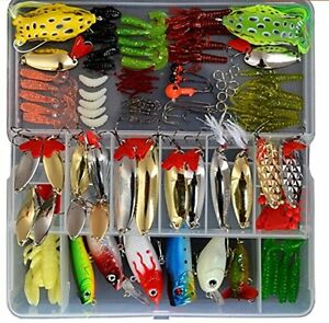 129pcs Plastic Soft Fishing Lure Set Frog Spoon Hard Lures Trout Salmon More
