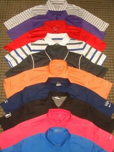 LOT 10 MIXED NIKE TOUR PERFORMANCE DRI-FIT FIT-DRY SS GOLF POLO SHIRTS SZ L