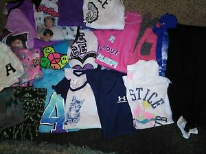 Huge lot girls 1012 clothes  JUSTICE ABERCROMBIE UNDER ARMOUR Shirts shorts leg