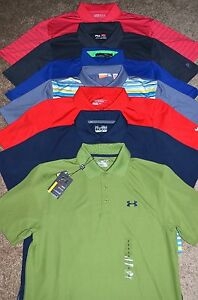 Lot of 7 Men's Under ArmourNikePumaRLX Short Sleeve Golf Polo Shirts Size S