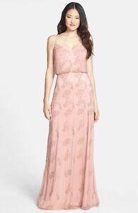 $350 Adrianna Papell Beaded Blouson Gown BLUSH PROM WEDDING BRIDESMAID FORMAL $79.99
