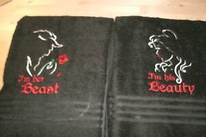 His Beauty & Her Beast Sketch His Hers Personalized Towel Set  Any Color