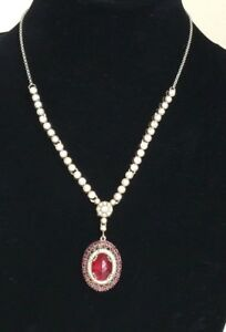 Turkish Jewelry Handmade Ruby Sterling Silver 925 Ottoman Drop Pendant Necklace