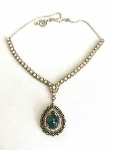 Turkish Ottoman Jewelry Handmade Emerald and CZ Green Drop Pendant Necklace