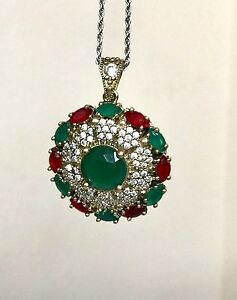 Handmade Turkish Pendant Emerald Ruby Jewelry Ottoman Necklace Authentic Flower