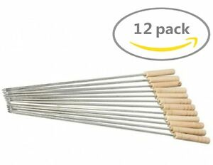12 Extention Rod Smores Skewers Hot Dog Fork Marshmallow Roasting Sticks Camping