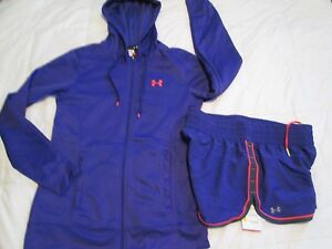 BRAND NEW Womens UNDER ARMOUR 2pc OUTFIT Hoodie+Shorts PurpleOrg Md FREE SHIP
