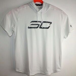 UNDER ARMOUR SC HEATGEAR ACTIVE TOP SHIRT WITH HOOD LOOSE 2XL MEN WHITE XXL