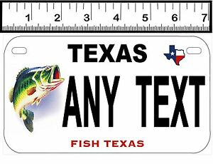 PERSONALIZED ALUMINUM MOTORCYCLE STATE LICENSE PLATE-TEXAS FISH