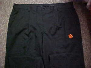 Clemson Tigers Team Issued Un-Hemmed Nike Fit Dry Black Pro-Line Golf Pants S-42