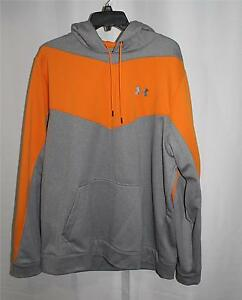 NEW UNDER ARMOUR ORANGE & GRAY COLORBLOCK LOOSE LOGO FLEECE HOODIE JACKET TOP XL