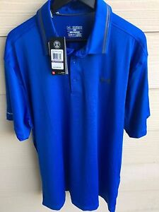 Under Armour Polo Heat Gear COLD BLACK Golf Loose Fit Blue XXL 2XL NWT $69.99