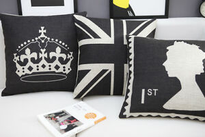 Black UK Flag/UK Stamp/Imperial Crown Throw Pillow Case Cushion Cover 18