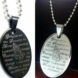 50x Black Silver English Serenity Prayer Bible Stainless Steel Pendant Necklace