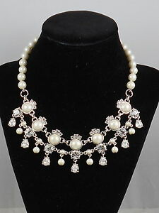 Carolee Silvertone WALDORF Faux Pearl Crystal Drop Frontal Statement Necklace