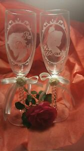 Beauty and the Beast Etched Custom Personalized Wedding Glasses