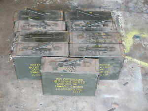 9- 30 Cal Ammo Can Box Army Military Metal Storage 7.62 MM