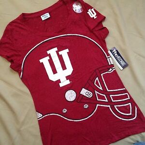 NEW Women's S Indiana Hoosiers Football Burnout Cap Sleeve Shirt Youth XL (15)