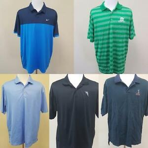Lot of 5 Nike Polo Golf Shirts Size XL Fit Dry Dri-Fit Cotton Moisture Wicking