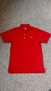 Lacoste SPORT Red Ultra Dry Men's Pique Knit Polo Shirt Size 3  Small-Medium