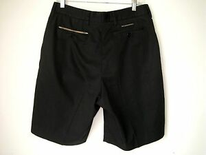 BURBERRY GOLF MEN'S BLACK COTTON PLEATED SHORTS SIZE 34