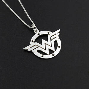 Wonder Woman Necklace delicate sterling silver super hero symbol Diana Prince