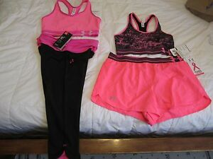 NEW Womens UNDER ARMOUR 4pc WORKOUT OUTFIT Capri+2 Bras+Shorts PinkBlkFREE SHIP